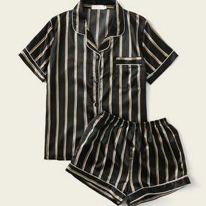 Vertical Striped Satin Pajama Set NWOT